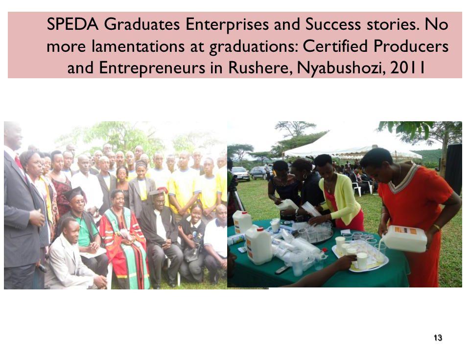 13 SPEDA Graduates Enterprises and Success stories. No more lamentations at graduations: Certified Producers and Entrepreneurs in Rushere, Nyabushozi,