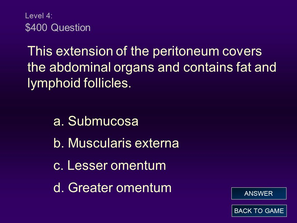 Level 4: $400 Question This extension of the peritoneum covers the abdominal organs and contains fat and lymphoid follicles.