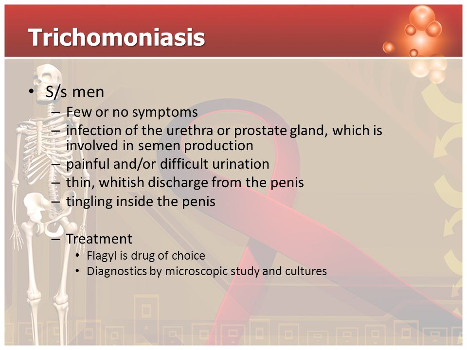 Trichomoniasis S/s men – Few or no symptoms – infection of the urethra or prostate gland, which is involved in semen production – painful and/or diffi