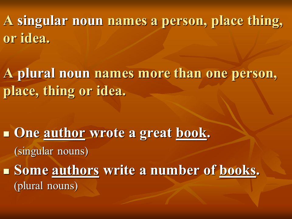 Make a list of ten singular nouns.Make a list of ten singular nouns.