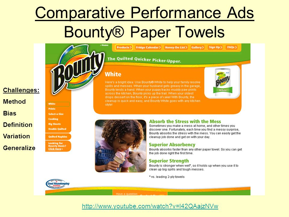 Comparative Performance Ads Bounty® Paper Towels http://www.youtube.com/watch v=l42QAajzNVw Challenges: Method Bias Definition Variation Generalize