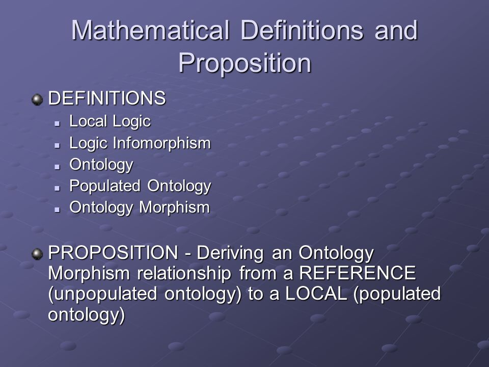Mathematical Definitions and Proposition DEFINITIONS Local Logic Local Logic Logic Infomorphism Logic Infomorphism Ontology Ontology Populated Ontology Populated Ontology Ontology Morphism Ontology Morphism PROPOSITION - Deriving an Ontology Morphism relationship from a REFERENCE (unpopulated ontology) to a LOCAL (populated ontology)