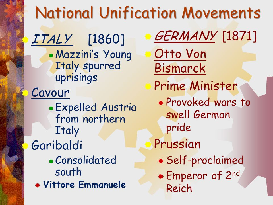 National Unification Movements  ITALY [1860]  Mazzini's Young Italy spurred uprisings  Cavour  Expelled Austria from northern Italy  Garibaldi 