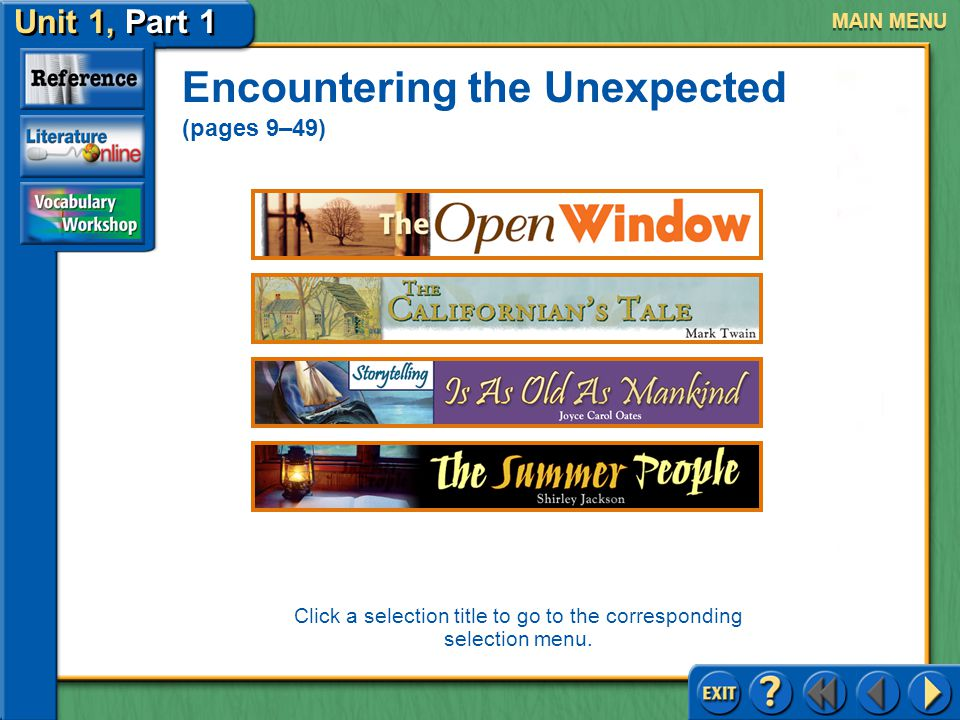Unit 1, Part 1 The Open Window Encountering the Unexpected Read the second text highlighted in tan on page 16.