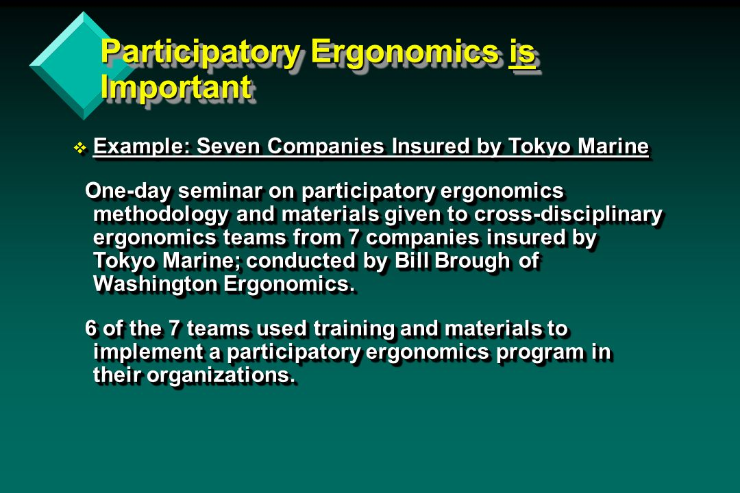 Participatory Ergonomics is Important v Example: Seven Companies Insured by Tokyo Marine One-day seminar on participatory ergonomics methodology and materials given to cross-disciplinary ergonomics teams from 7 companies insured by Tokyo Marine; conducted by Bill Brough of Washington Ergonomics.