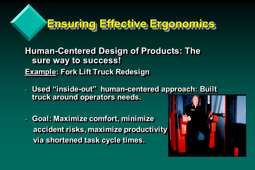 Ensuring Effective Ergonomics Ensuring Effective Ergonomics Human-Centered Design of Products: The sure way to success.