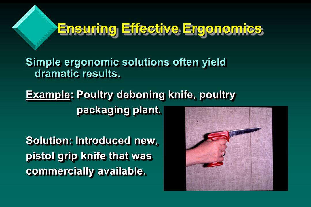 Ensuring Effective Ergonomics Ensuring Effective Ergonomics Simple ergonomic solutions often yield dramatic results. Example: Poultry deboning knife,