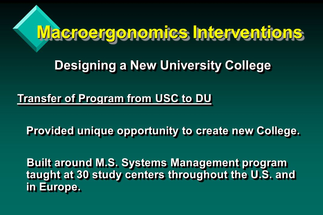 Macroergonomics Interventions Designing a New University College Designing a New University College Transfer of Program from USC to DU Provided unique opportunity to create new College.