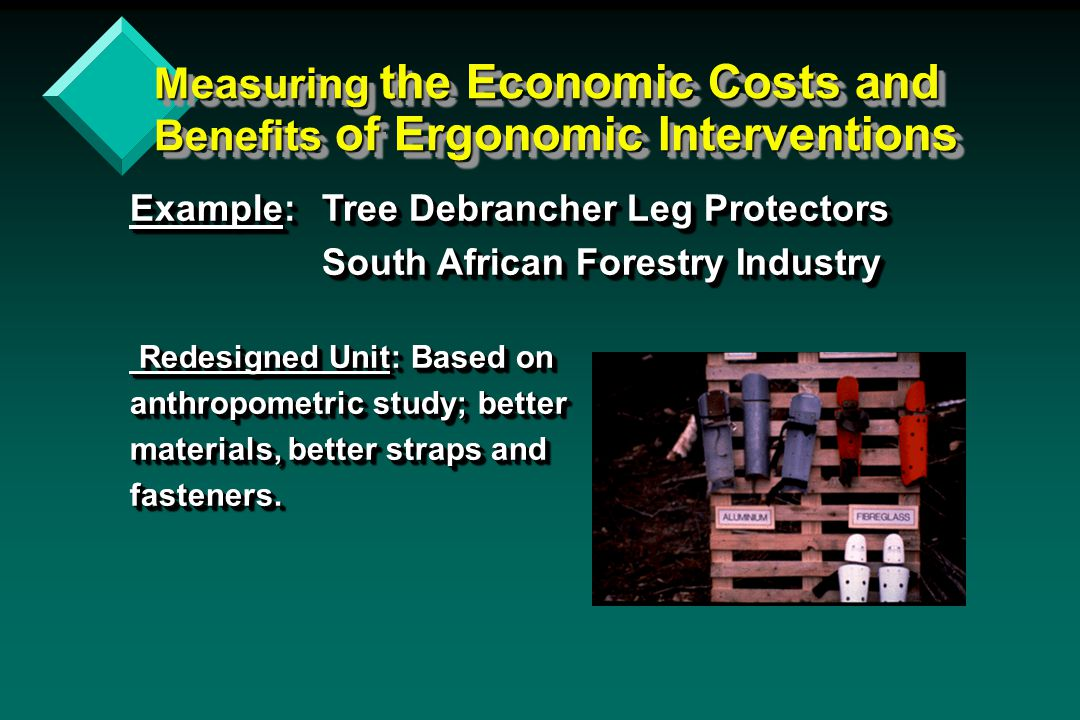 Measuring the Economic Costs and Benefits of Ergonomic Interventions Example: Tree Debrancher Leg Protectors Ergonomically Redesigned Results Before: 10 leg injuries per day among 300 workers in a eucalyptus plantation; average of 5 lost work days per injury.