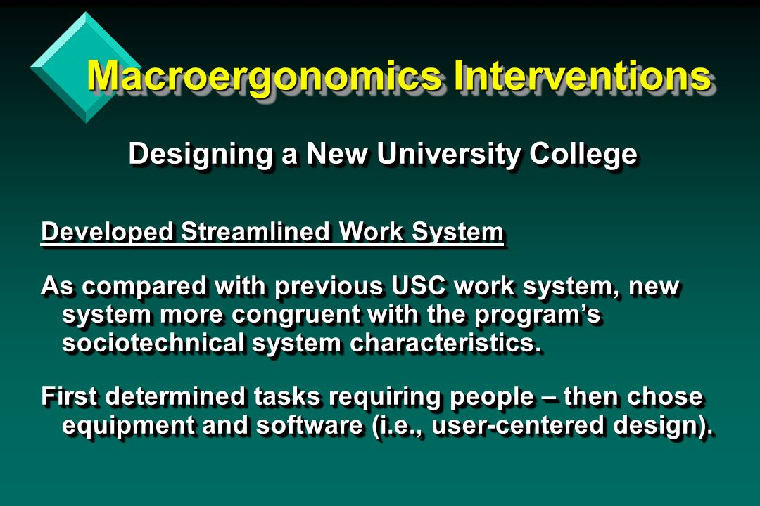 Macroergonomics Interventions Designing a New University College Designing a New University College Developed Streamlined Work System As compared with previous USC work system, new system more congruent with the program's sociotechnical system characteristics.