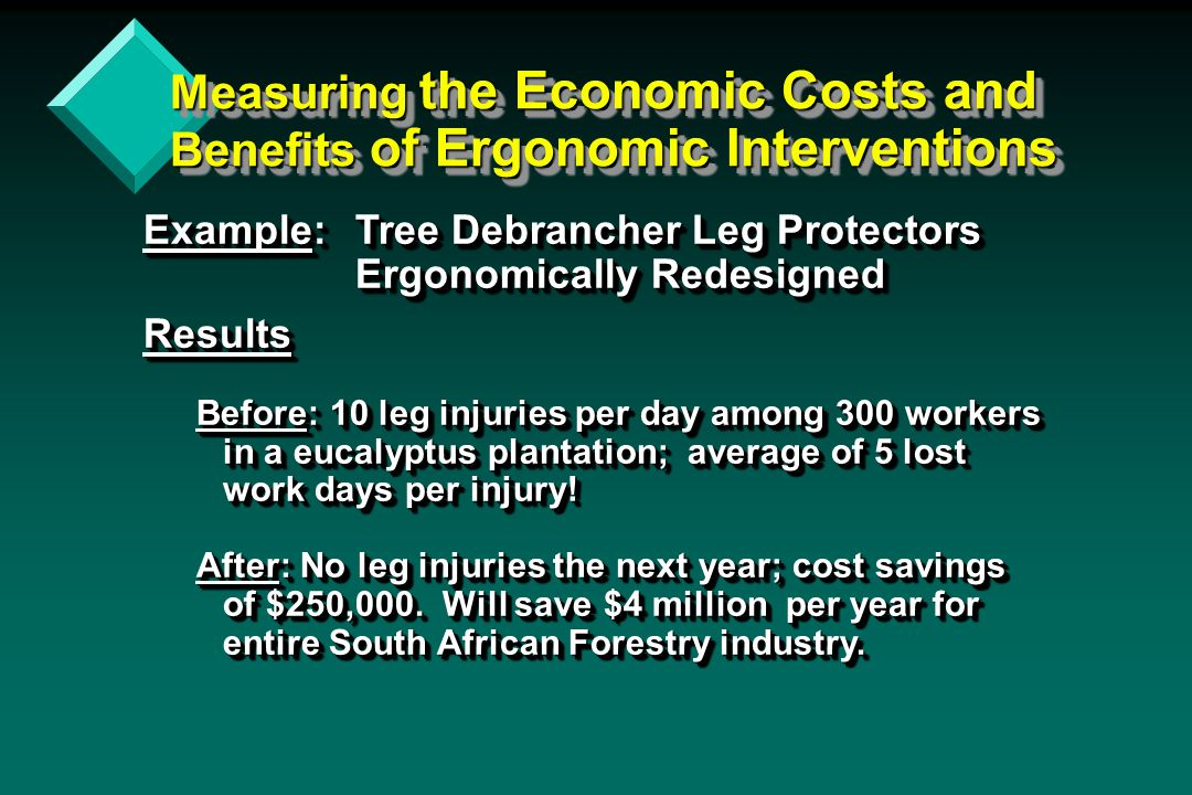 Ensuring Effective Ergonomics Ergonomics Training is an important Key to a Successful program v Personal Example: Philippine Cottage Industry Factory - I taught one-day ergonomics & safety seminar to the manager and two workers who spoke English.