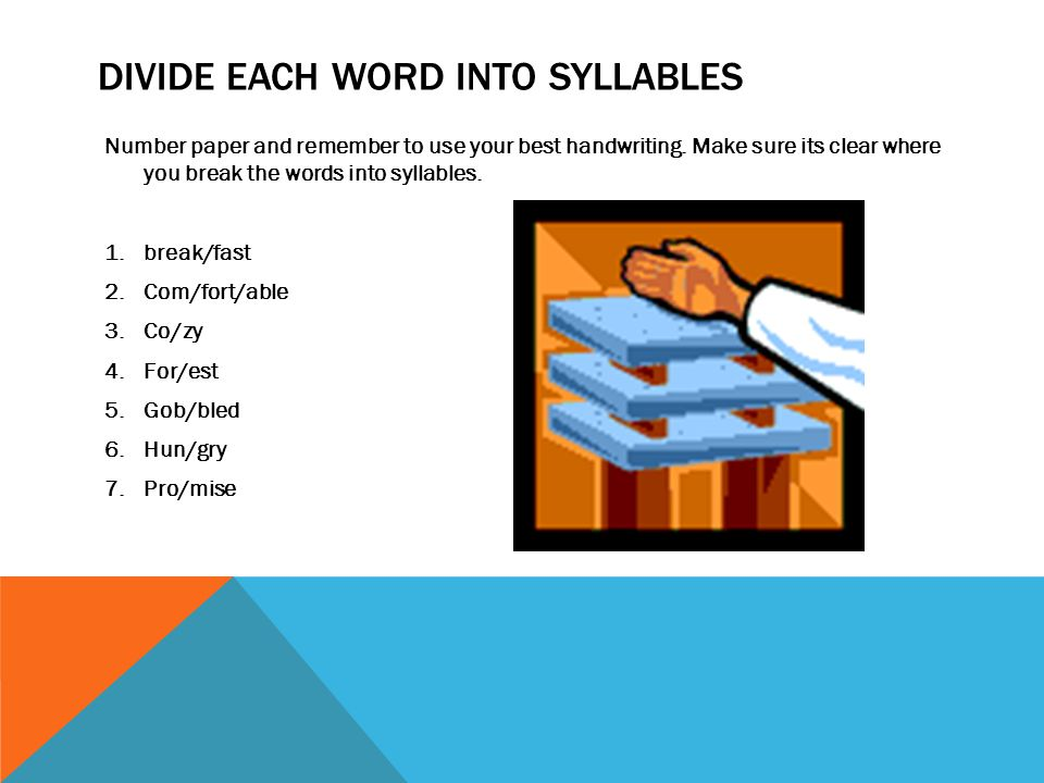 DIVIDE EACH WORD INTO SYLLABLES Number paper and remember to use your best handwriting.