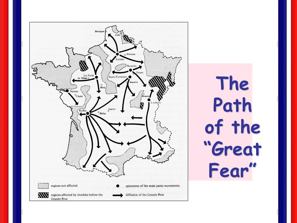 The Great Fear: Peasant Revolt (July 20, 1789)  Rumors that the feudal aristocracy [the aristos] were sending hired brigands to attack peasants and pillage their land.