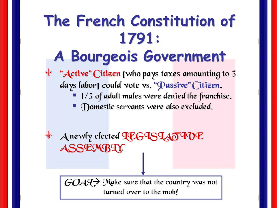 The French Constitution of 1791: A Bourgeois Government  The king got the suspensive veto [which prevented the passage of laws for 4 years].