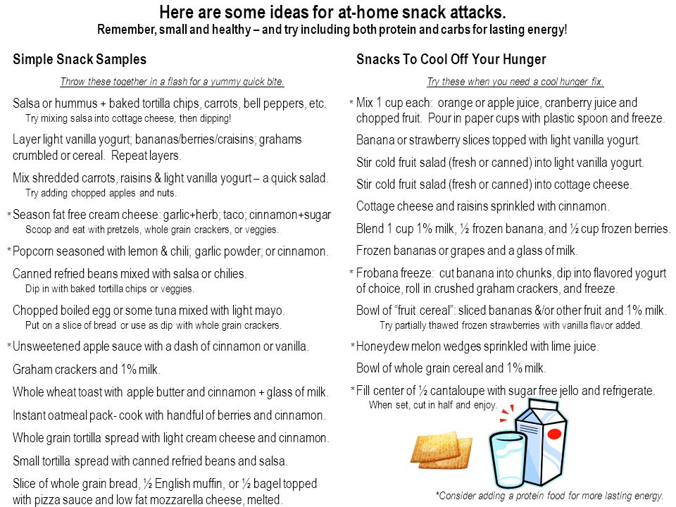 Here are some ideas for at-home snack attacks.