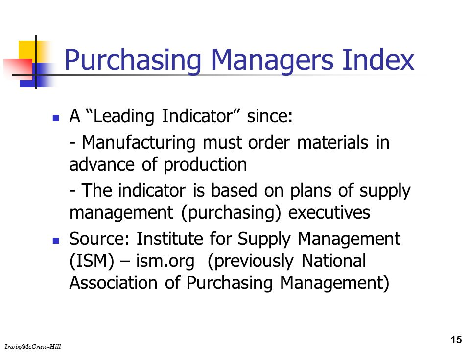 Irwin/McGraw-Hill Purchasing Managers Index A Leading Indicator since: - Manufacturing must order materials in advance of production - The indicator is based on plans of supply management (purchasing) executives Source: Institute for Supply Management (ISM) – ism.org (previously National Association of Purchasing Management) 15