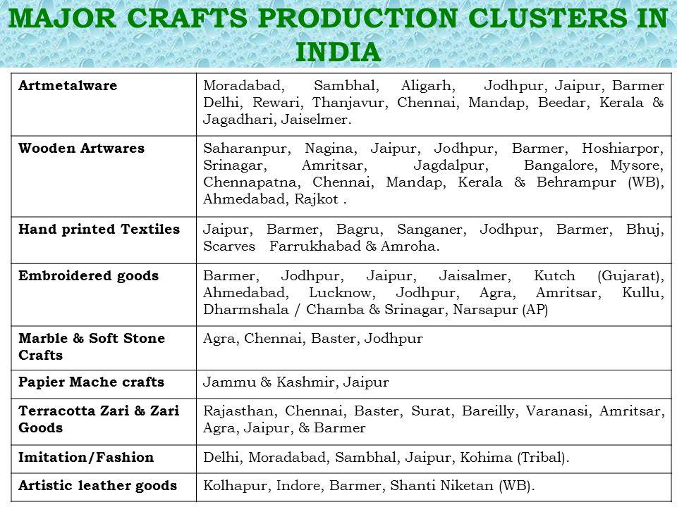 MAJOR CRAFTS PRODUCTION CLUSTERS IN INDIA Artmetalware Moradabad, Sambhal, Aligarh, Jodhpur, Jaipur, Barmer Delhi, Rewari, Thanjavur, Chennai, Mandap,