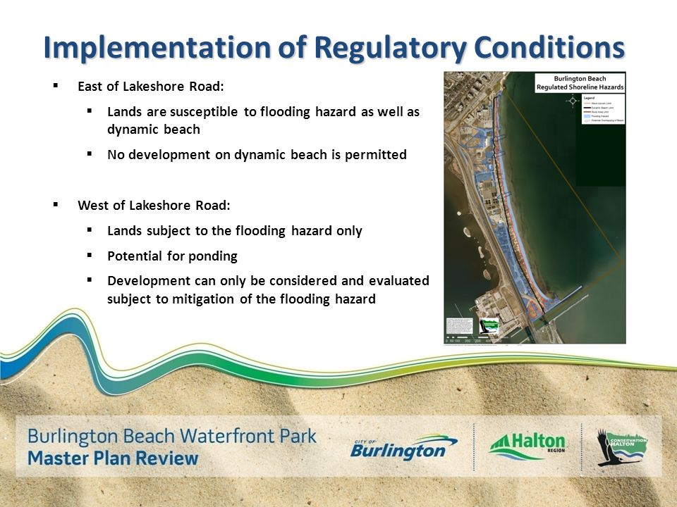 Implementation of Regulatory Conditions  East of Lakeshore Road:  Lands are susceptible to flooding hazard as well as dynamic beach  No development on dynamic beach is permitted  West of Lakeshore Road:  Lands subject to the flooding hazard only  Potential for ponding  Development can only be considered and evaluated subject to mitigation of the flooding hazard