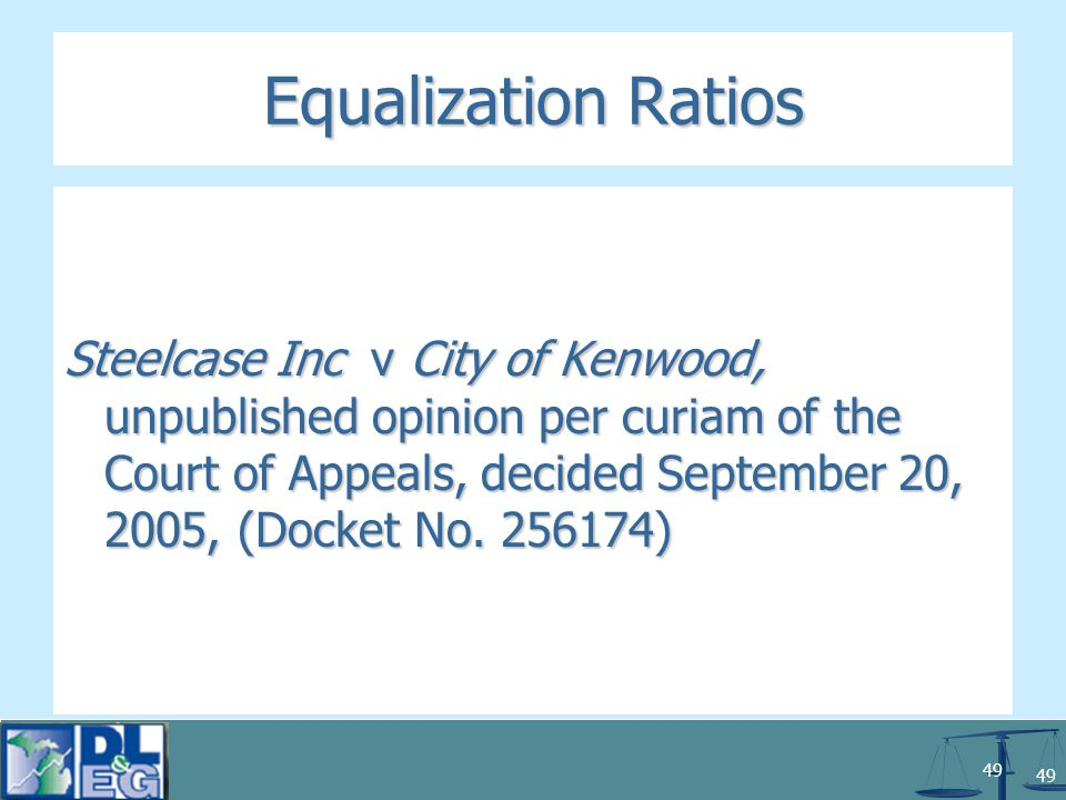 49 Equalization Ratios Steelcase Inc v City of Kenwood, unpublished opinion per curiam of the Court of Appeals, decided September 20, 2005, (Docket No.