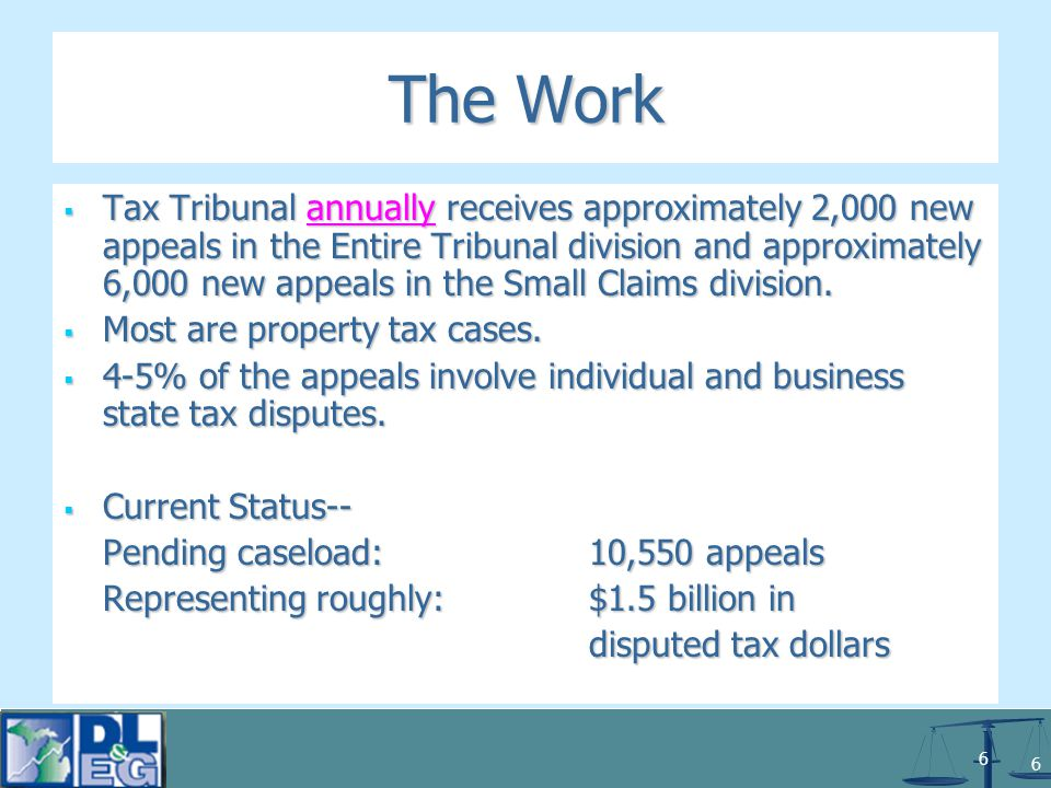 7 7 The Tribunal's Two Divisions: TTR 205.1101(d) Entire tribunal means the hearing division of the tribunal other than the small claims division.
