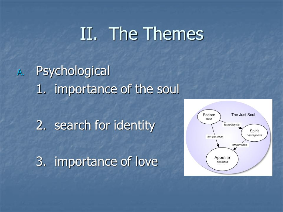 II. The Themes A. Psychological 1. importance of the soul 2. search for identity 3. importance of love
