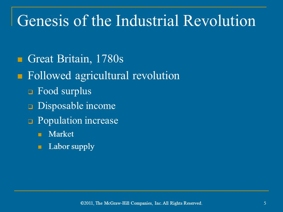 Genesis of the Industrial Revolution Great Britain, 1780s Followed agricultural revolution  Food surplus  Disposable income  Population increase Ma