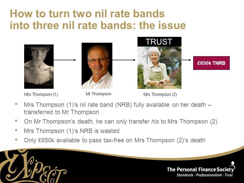 How to turn two nil rate bands into three nil rate bands: the issue Mrs Thompson (1)'s nil rate band (NRB) fully available on her death – transferred to Mr Thompson On Mr Thompson's death, he can only transfer his to Mrs Thompson (2) Mrs Thompson (1)'s NRB is wasted Only £650k available to pass tax-free on Mrs Thompson (2)'s death TRUST Mrs Thompson (1)Mrs Thompson (2) Mr Thompson £650k TNRB