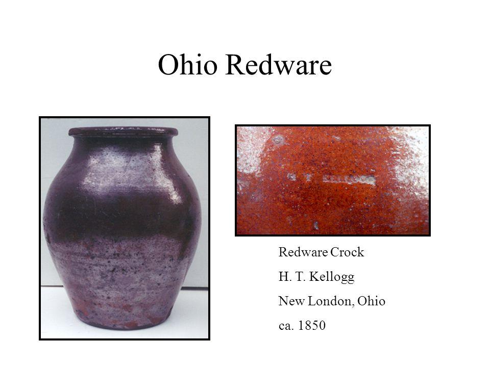 Ohio Redware Redware Crock H. T. Kellogg New London, Ohio ca. 1850