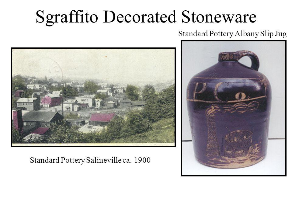 Sgraffito Decorated Stoneware Standard Pottery Salineville ca. 1900 Standard Pottery Albany Slip Jug