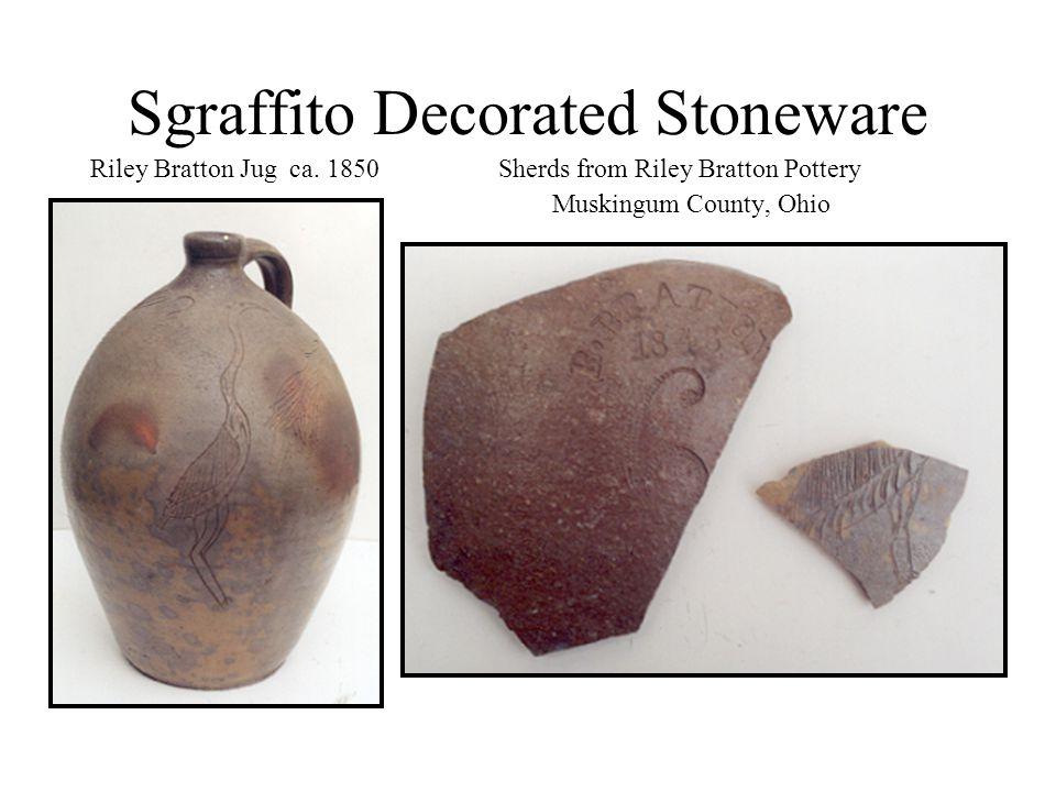 Sgraffito Decorated Stoneware Riley Bratton Jug ca. 1850 Sherds from Riley Bratton Pottery Muskingum County, Ohio