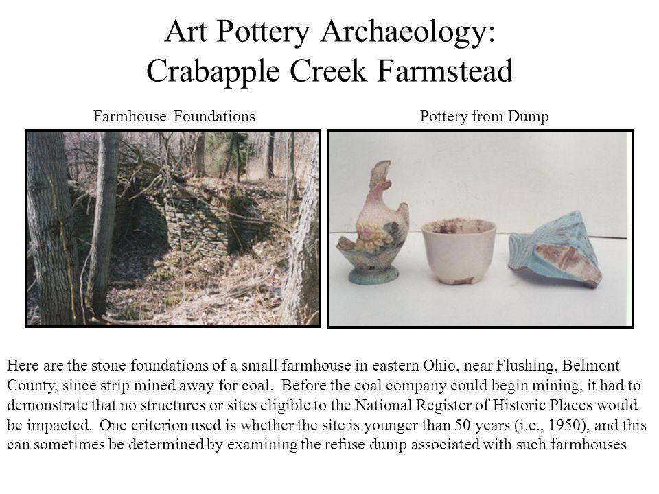 Art Pottery Archaeology: Crabapple Creek Farmstead Farmhouse Foundations Pottery from Dump Here are the stone foundations of a small farmhouse in east