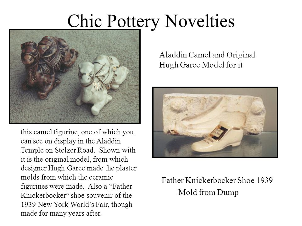 Chic Pottery Novelties Father Knickerbocker Shoe 1939 Mold from Dump Aladdin Camel and Original Hugh Garee Model for it this camel figurine, one of wh