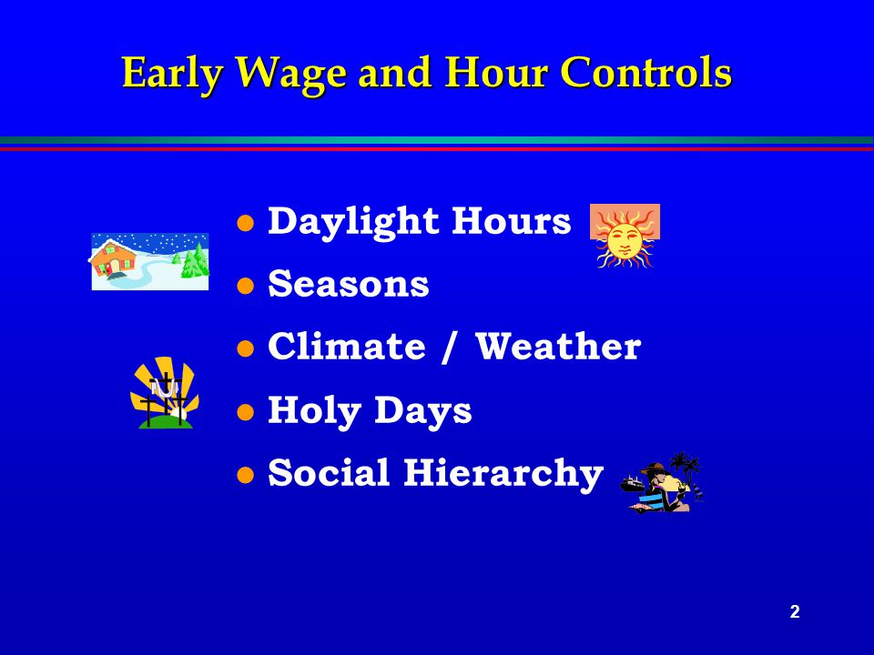 2 Early Wage and Hour Controls l Daylight Hours l Seasons l Climate / Weather l Holy Days l Social Hierarchy