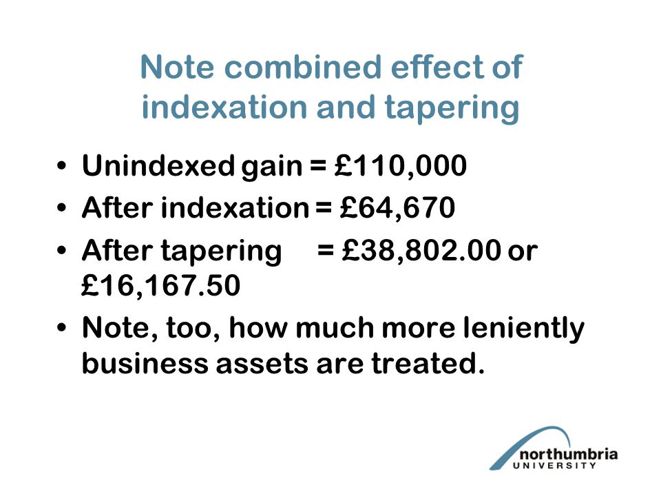 Note combined effect of indexation and tapering Unindexed gain = £110,000 After indexation = £64,670 After tapering = £38,802.00 or £16,167.50 Note, too, how much more leniently business assets are treated.