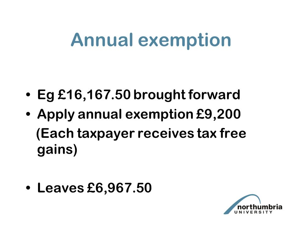 Annual exemption Eg £16,167.50 brought forward Apply annual exemption £9,200 (Each taxpayer receives tax free gains) Leaves £6,967.50