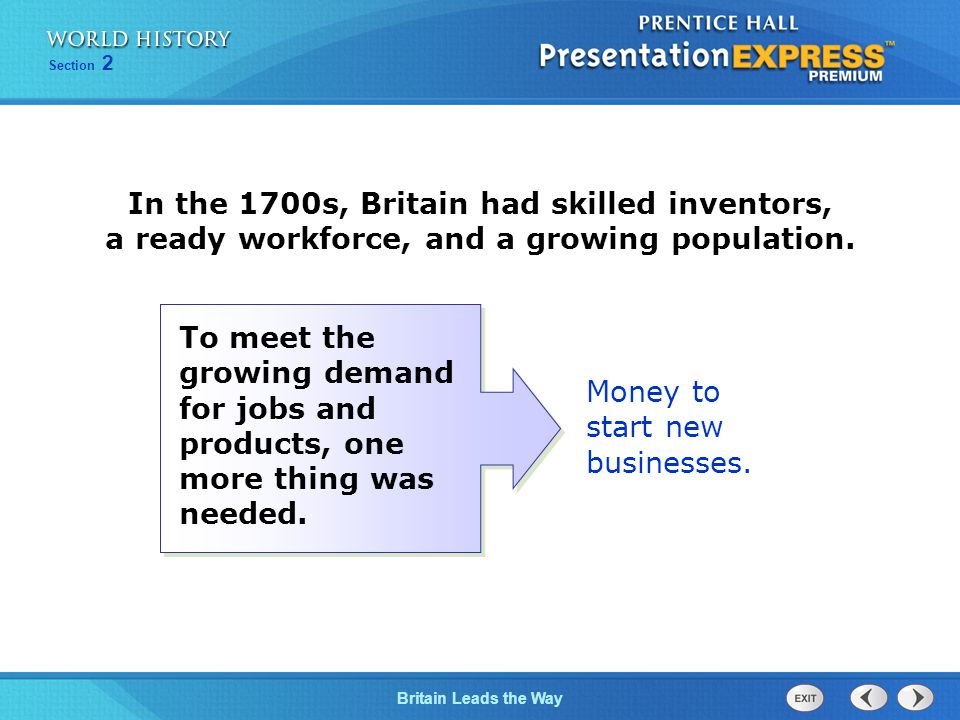 Chapter 25 Section 1 The Cold War Begins Section 2 Britain Leads the Way Money to start new businesses.