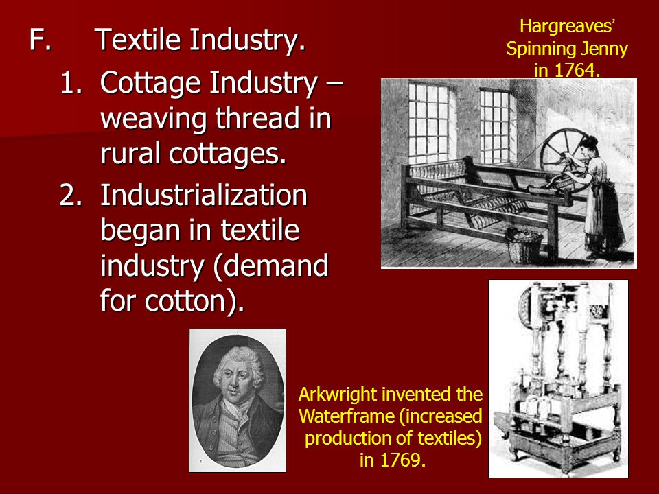 F.Textile Industry. 1.Cottage Industry – weaving thread in rural cottages.