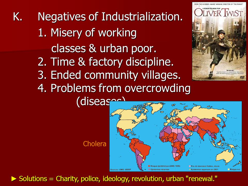 K.Negatives of Industrialization. 1. Misery of working classes & urban poor.