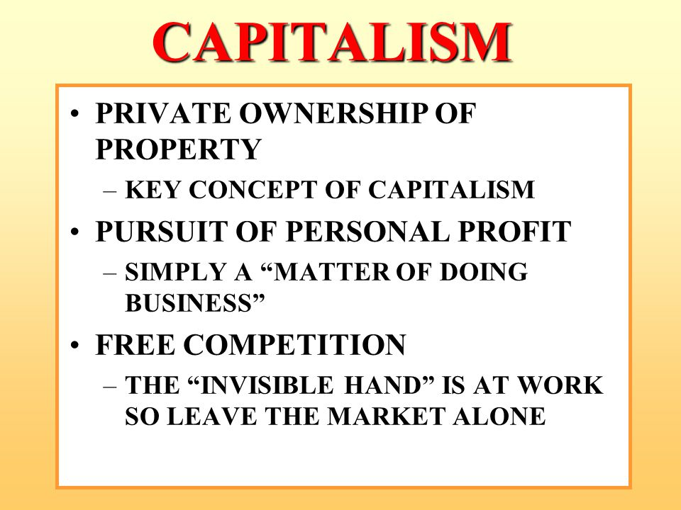 "CAPITALISM PRIVATE OWNERSHIP OF PROPERTY –KEY CONCEPT OF CAPITALISM PURSUIT OF PERSONAL PROFIT –SIMPLY A ""MATTER OF DOING BUSINESS"" FREE COMPETITION –"