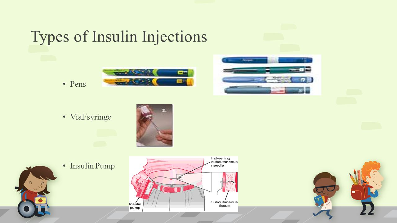 Types of Insulin Injections Pens Vial/syringe Insulin Pump