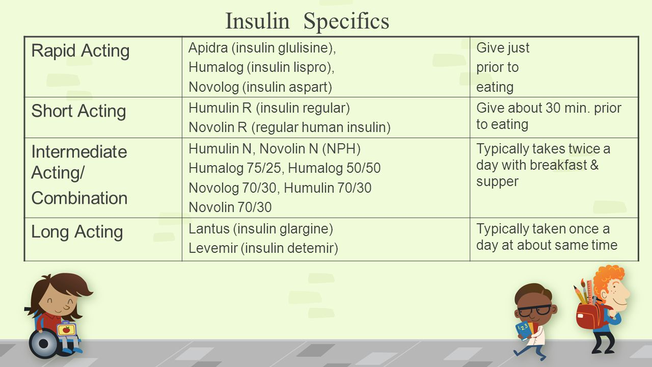 Insulin Specifics Rapid Acting Apidra (insulin glulisine), Humalog (insulin lispro), Novolog (insulin aspart) Give just prior to eating Short Acting Humulin R (insulin regular) Novolin R (regular human insulin) Give about 30 min.