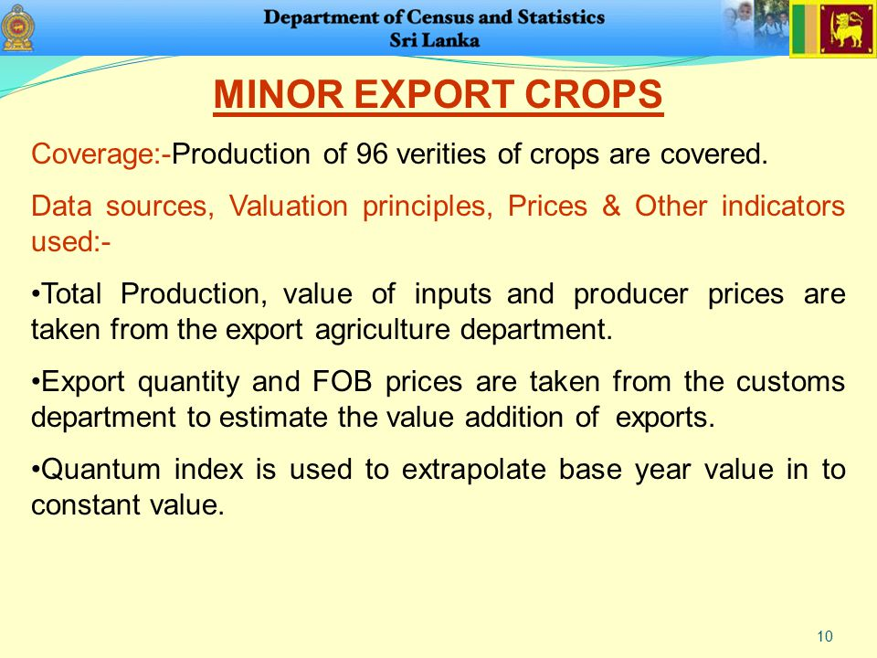 10 MINOR EXPORT CROPS Coverage:-Production of 96 verities of crops are covered.