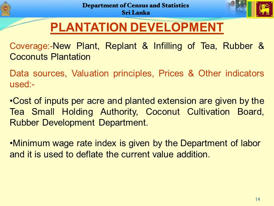 14 PLANTATION DEVELOPMENT Coverage:- New Plant, Replant & Infilling of Tea, Rubber & Coconuts Plantation Data sources, Valuation principles, Prices &