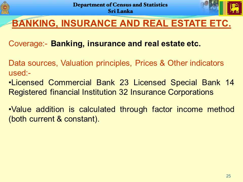 25 BANKING, INSURANCE AND REAL ESTATE ETC. Coverage:- Banking, insurance and real estate etc. Data sources, Valuation principles, Prices & Other indic