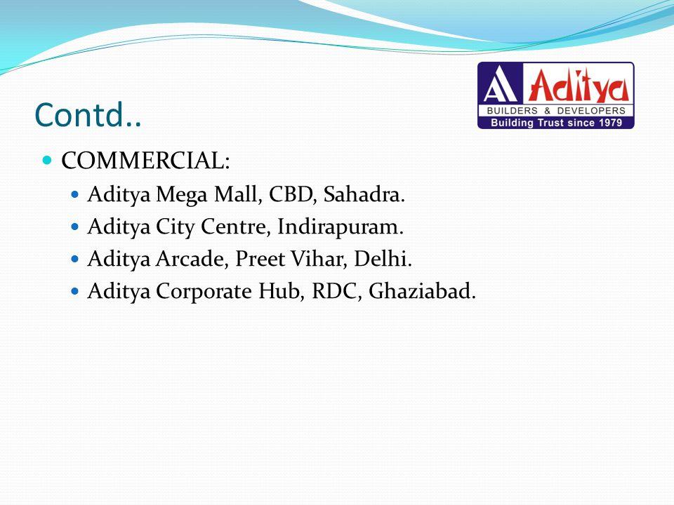 Contd.. COMMERCIAL: Aditya Mega Mall, CBD, Sahadra.