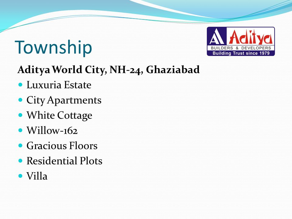 Township Aditya World City, NH-24, Ghaziabad Luxuria Estate City Apartments White Cottage Willow-162 Gracious Floors Residential Plots Villa