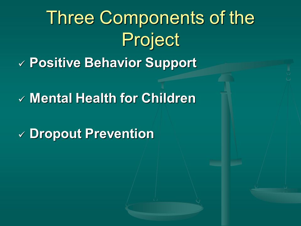 Three Components of the Project Positive Behavior Support Positive Behavior Support Mental Health for Children Mental Health for Children Dropout Prevention Dropout Prevention