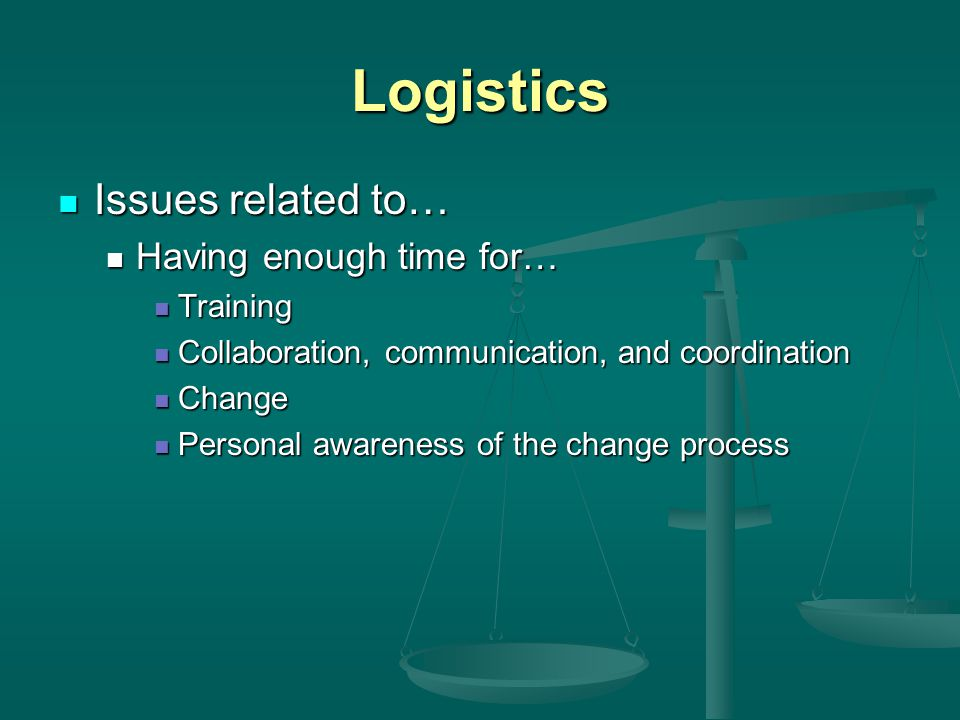 Logistics Issues related to… Issues related to… Having enough time for… Having enough time for… Training Training Collaboration, communication, and coordination Collaboration, communication, and coordination Change Change Personal awareness of the change process Personal awareness of the change process