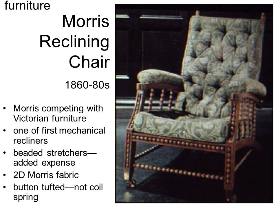 Morris Reclining Chair 1860-80s Morris competing with Victorian furniture one of first mechanical recliners beaded stretchers— added expense 2D Morris fabric button tufted—not coil spring furniture