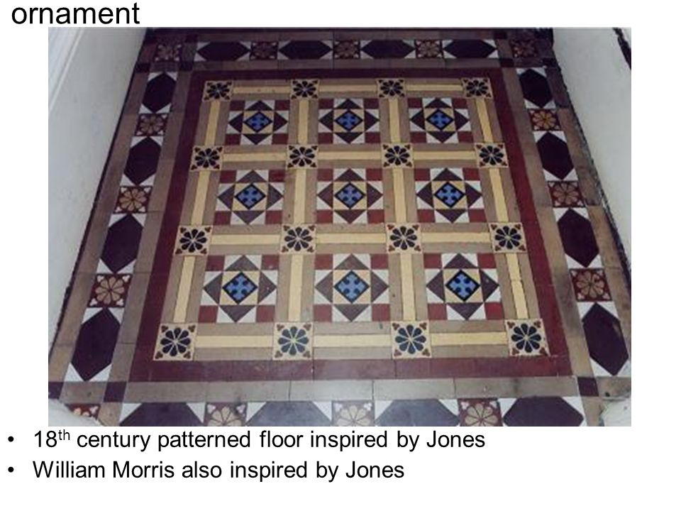 18 th century patterned floor inspired by Jones William Morris also inspired by Jones